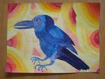 Aquarellmalerei, Rabe, Aquarell,