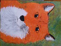 Acrylmalerei, Tiere, Fuchs, Technik