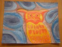 Psychedelisch, Aquarellmalerei, Uhu, Aquarell