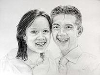Hochzeit, Asien, Braut, Portrait