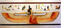 Pharao, Göttin, Hieroglyphen, Wandmalerei