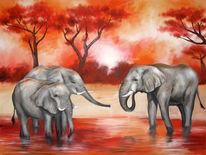 Savanne, Sonnenuntergang, Elefant, Wasser