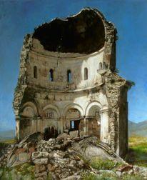 Ölmalerei, Kirche, Armenien, Ruine