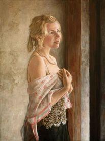 Jung, Schal, Ölmalerei, Malerei