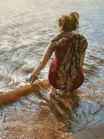 Welle, Junge frau, Reflexion, Wasser