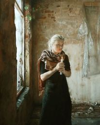Zimmer, Frau, Kerzenlicht, Ölmalerei