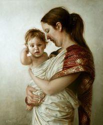 Frau, Portrait, Malerei, Ölmalerei