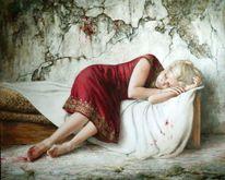 Ölmalerei, Mauer, Blut, Holofernus