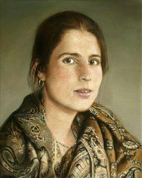 Frau, Ölmalerei, Schal, Portrait