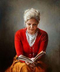 Buch, Ölmalerei, Modell, Blond