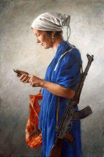 Frau, Kopftuch, Shoppen, Ölmalerei
