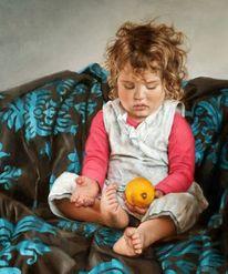 Mädchen, Spielen, Zitrone, Gelb