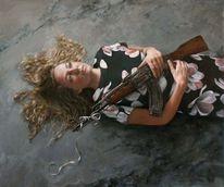Schleife, Blond, Ölmalerei, Kleid
