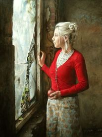Jung, Rot, Fenster, Ölmalerei