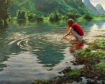 Ufer, Fluss, Grün, Mädchen