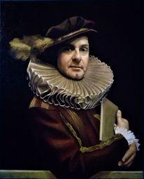 Ölmalerei, Portrait, Figurativ, Männlich