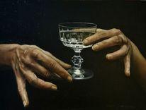 Glas, Ölaufleinen, Ölmalerei, Realitisch