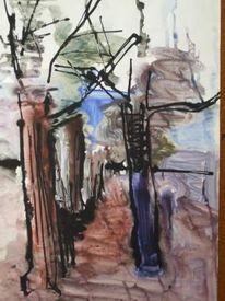 Baumallee, Winter, Malerei, Pflanzen