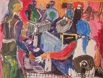 Einkaufrausch, Malerei, Menschen