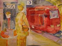 Nacht im bahnhofwiederholung, Malerei, Nacht, Bahnhof