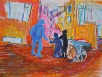 Schrotthändler, Kinder, Malerei, Menschen
