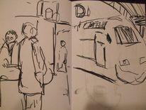 Hauptbahnhof, Skizze, Nacht, Malerei