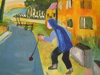 Straße, Kind, Malerei, Menschen