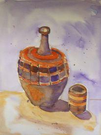 Wasserkrug aus ton, Malerei, Ton
