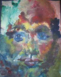 Spiegel, Aquarellmalerei, Selbstportrait, Portrait