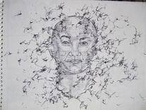 Selbstportrait, Skizze, August, Kuli