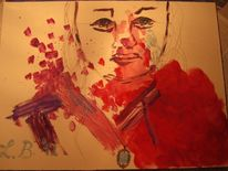Trauer, Tränen, Selbstportrait, Blut