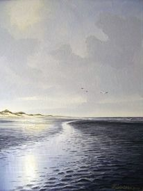 Nordsee, Watt, Dünen, Malerei