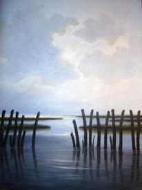 Meer, Watt, Nordsee, Ölmalerei