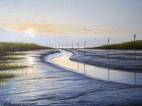 Priel, Gemälde, Nordsee, Meer