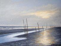 Watt, Nordsee, Priel, Malerei