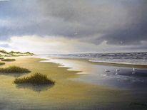 Möwe, Meer, Wolken, Langeooge
