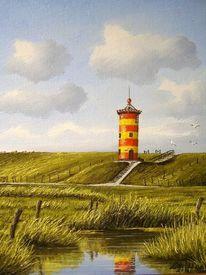 Ostfriesland, Gelb, Rot, Leuchtturm