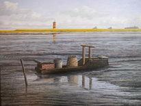 Watt, Nordsee, Wasser, Malerei