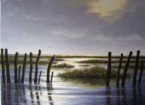 Ölmalerei, Abendstimmung, Nordsee, Ostfriesland