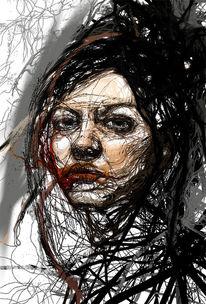 Strich, Frau, Portrait, Linie
