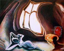 Seele, Ego, Selbstportrait, Fenster