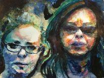 Brille, Frau, Blick, Aquarellmalerei