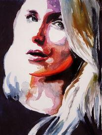 Frau, Malerei, Blick, Augen