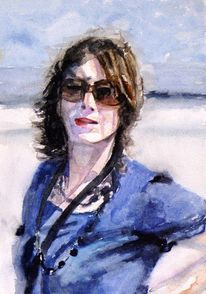 Wind, Portrait, Brille, Frau