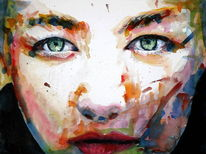 Farben, Blick, Aquarellmalerei, Frau
