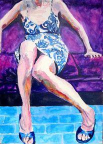 Bein, Kleid, Sofa, Aquarellmalerei