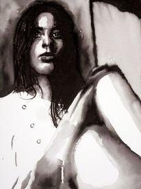 Aquarellmalerei, Frau, Schwarz weiß, Monochrom