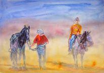 Reiter, Pferde, Aquarellmalerei, Aquarell