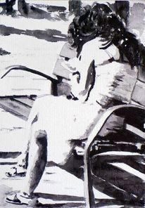 Sonne, Schwarz weiß, Aquarellmalerei, Frau