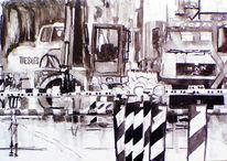 Monochrom, Baustelle, Aquarellmalerei, Bagger